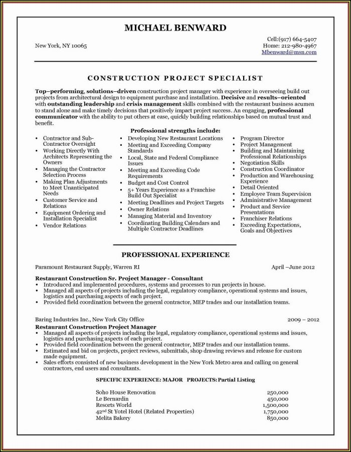 Resume Objective For Project Managers