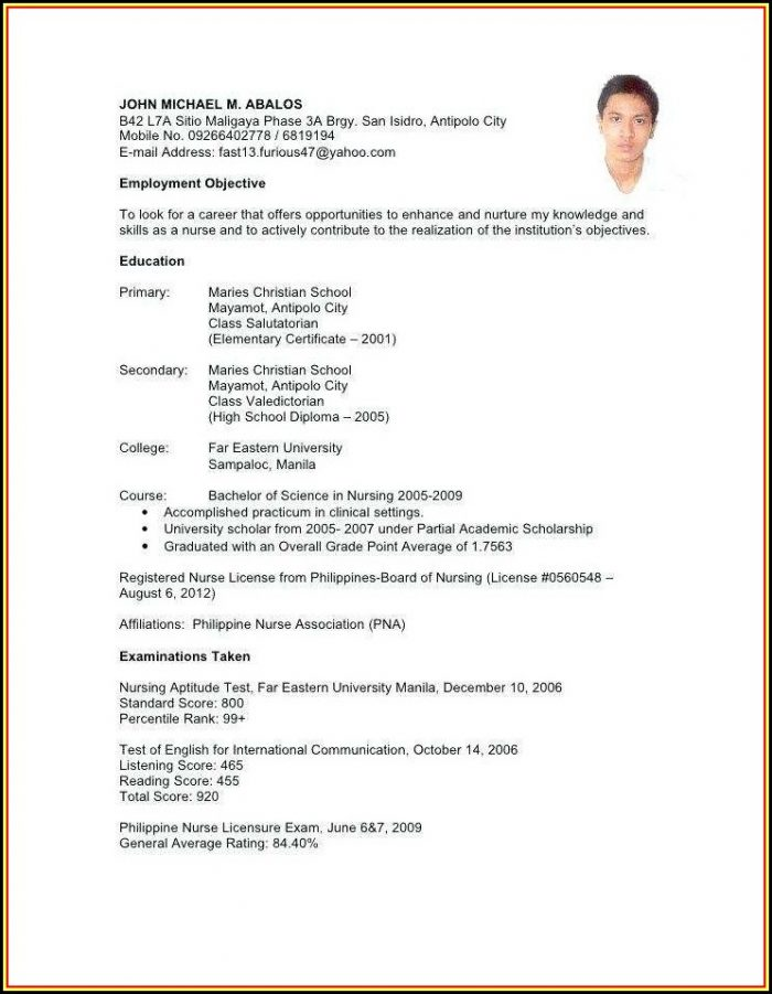 Resume Sample For Nurses Without Experience