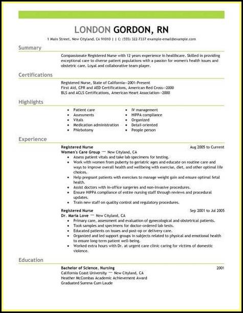 Resume Sample Nurses