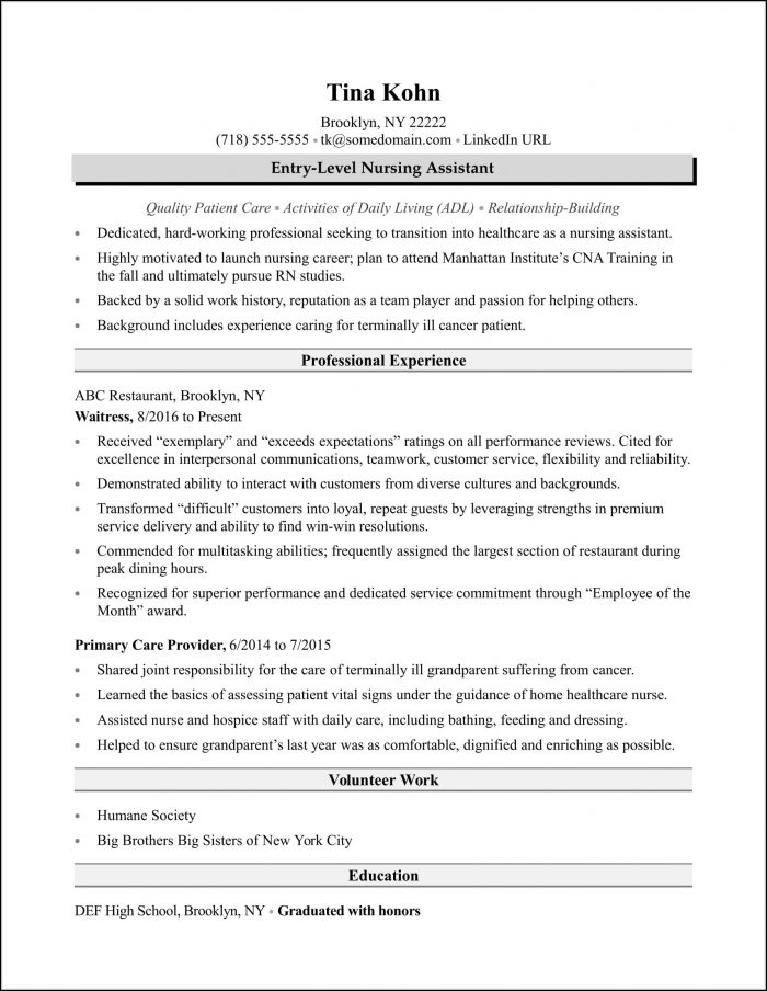 Resume Sample Nursing Assistant