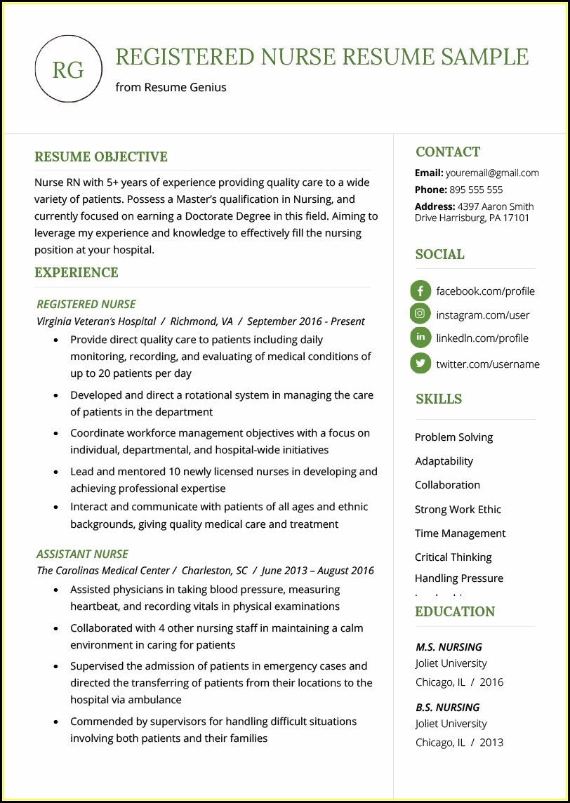 Resume Sample Nursing