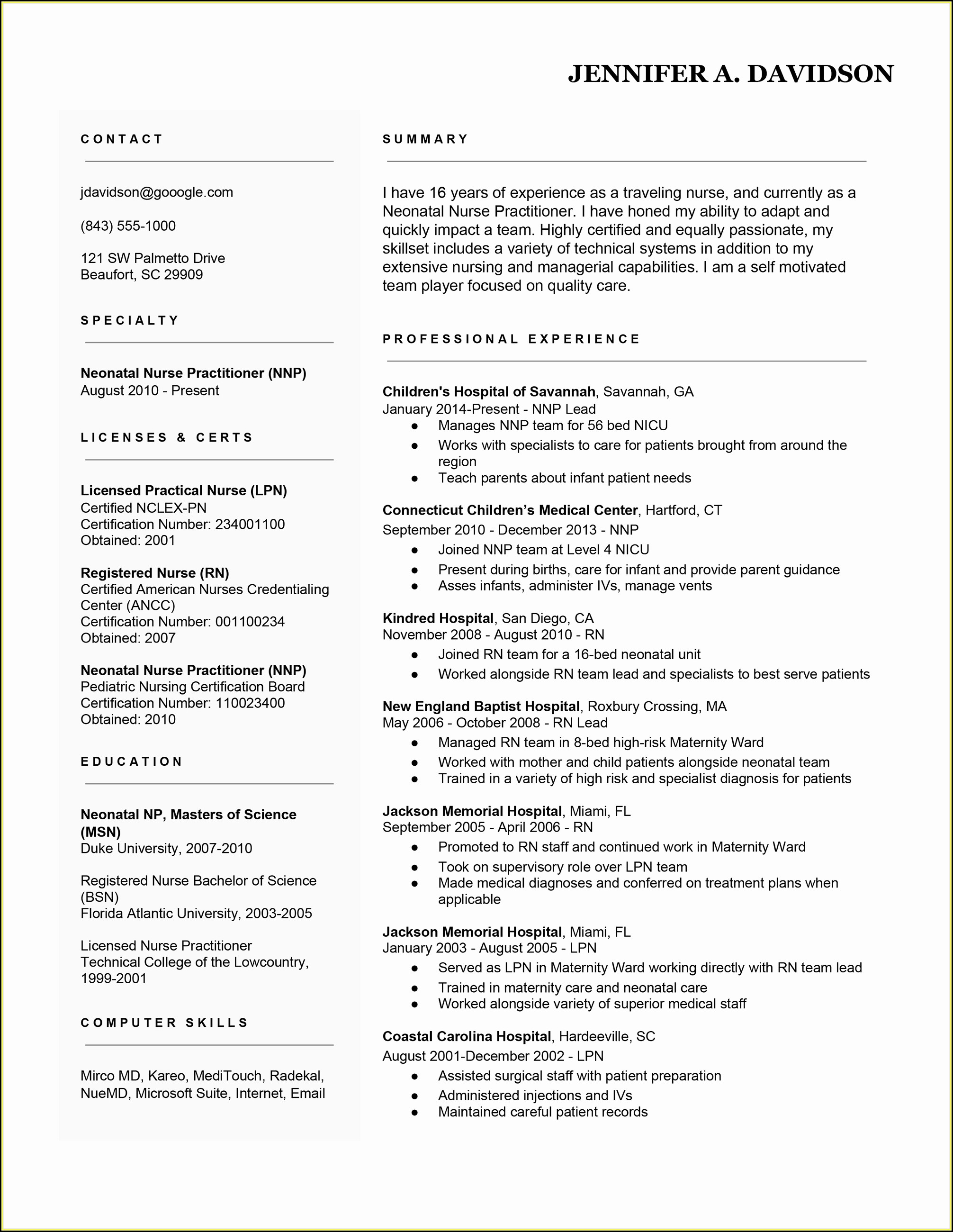Resume Sample Rn Position