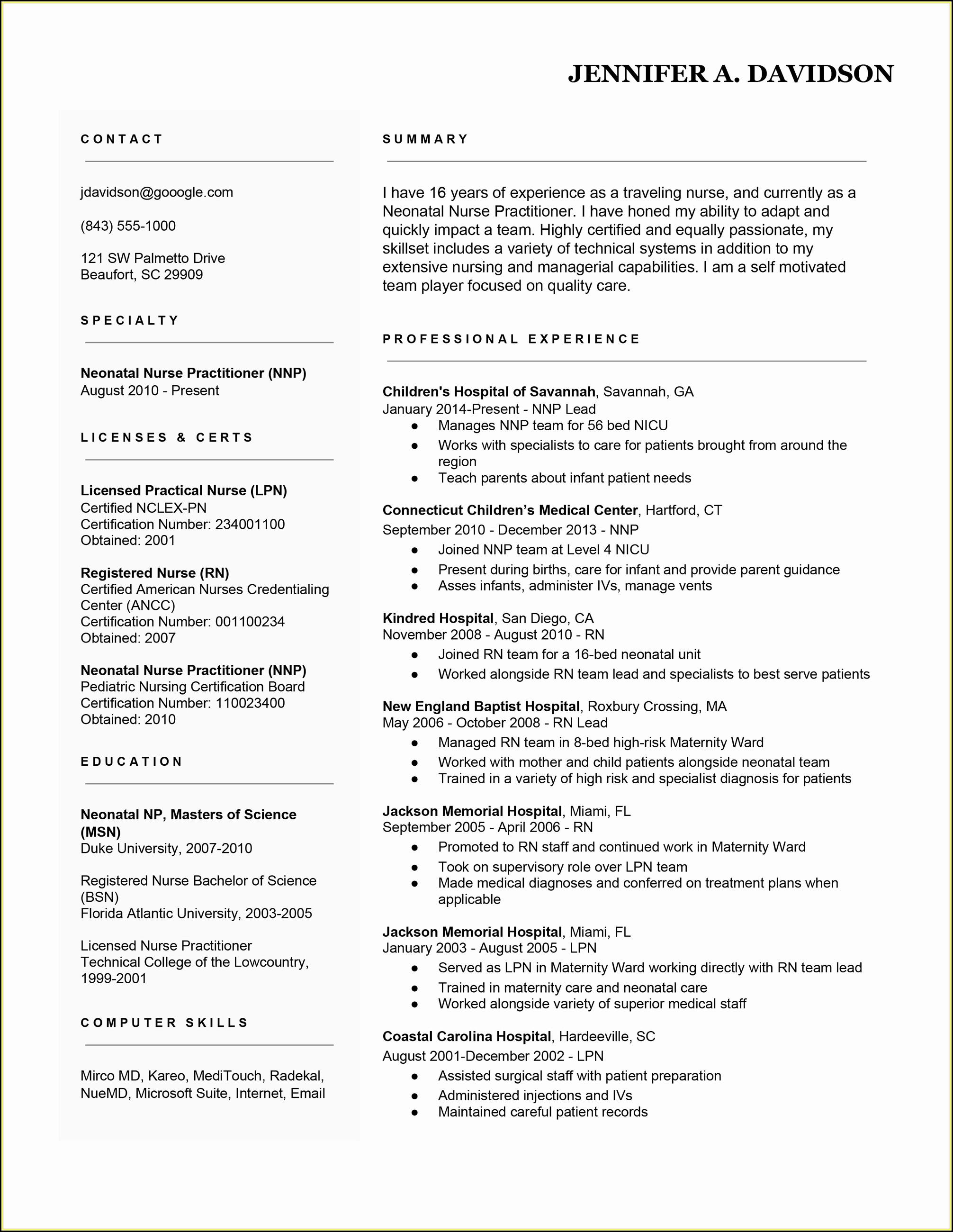 Resume Sample Rn Position