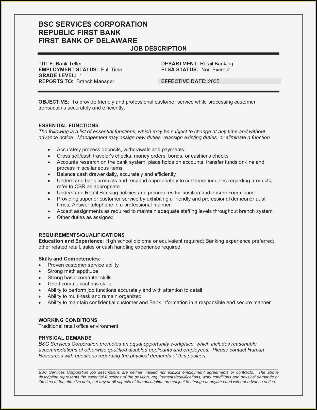 Resume Samples For Bank Teller