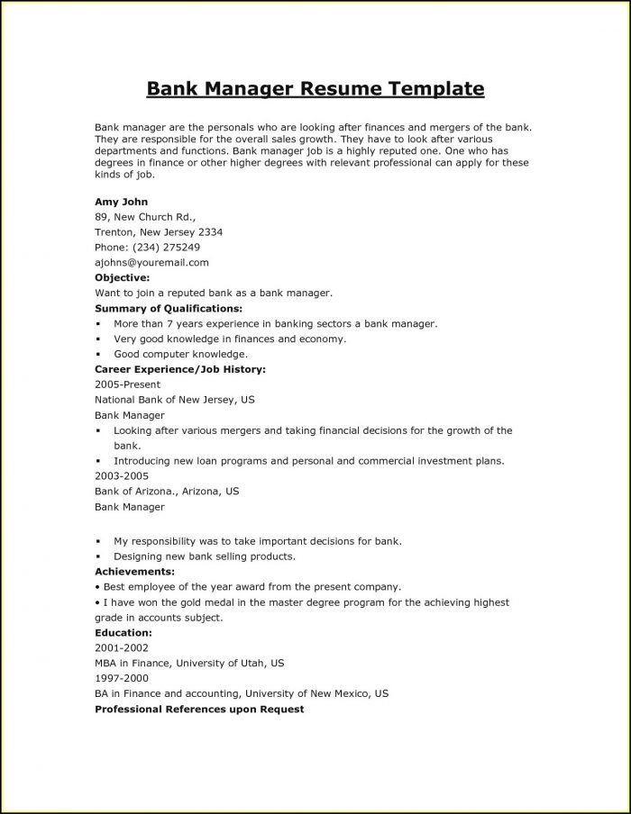 Resume Samples For Banking Jobs In India