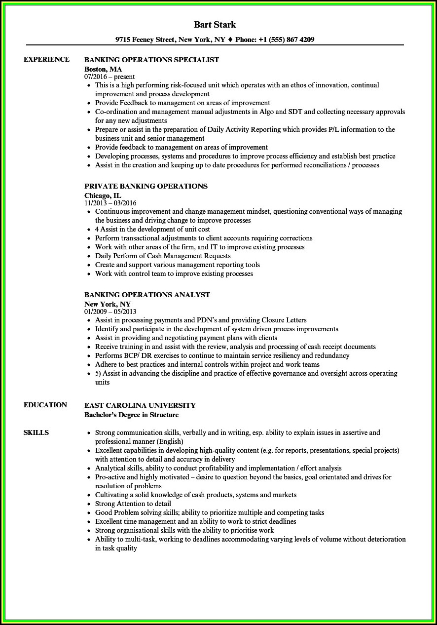 Resume Samples For Banking Operations