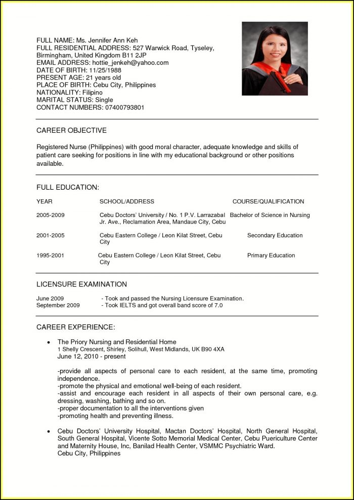 Resume Samples For Nurses In India