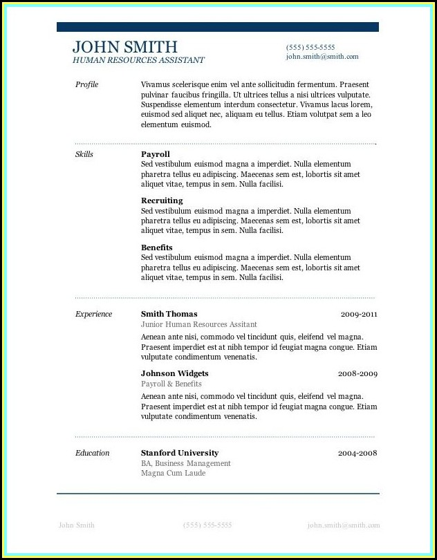 Resume Template For Microsoft Word 2013