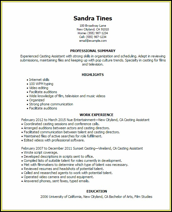 Resume Templates Example