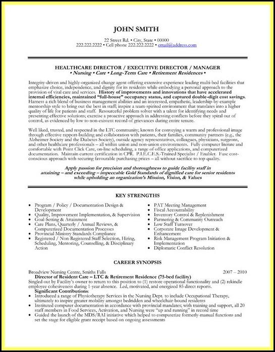 Resume Templates For Nursing Management