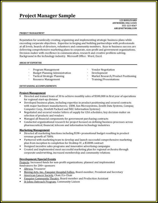 Resume Templates For Project Managers