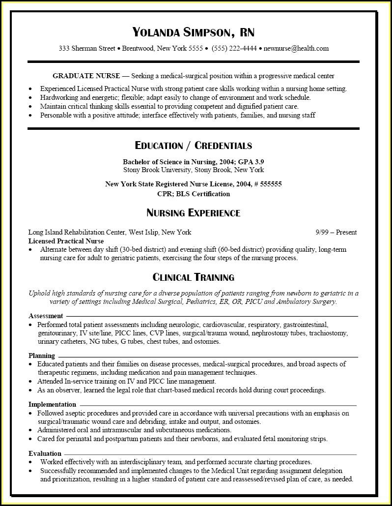 Resume Templates Nursing Graduates