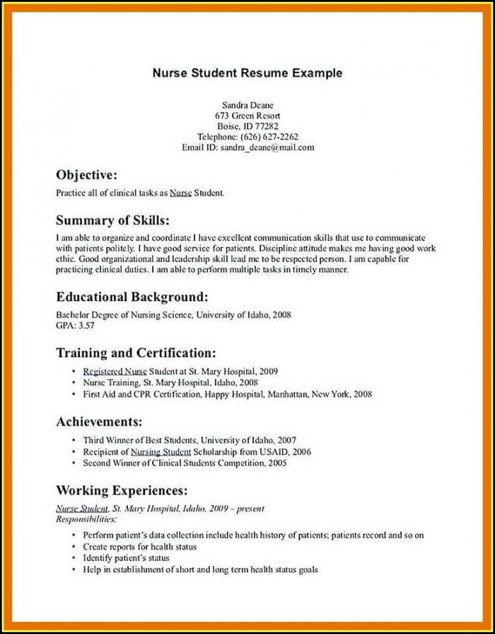 Resume Templates Nursing Students