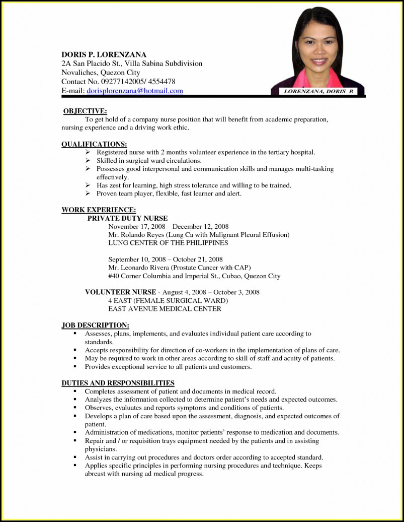 Resume Writing Format For Job
