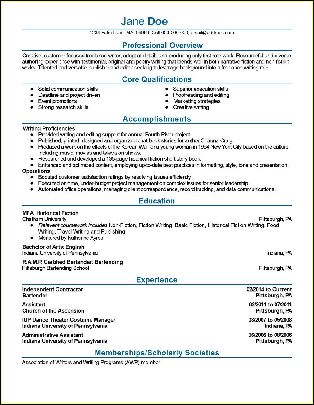 Resume Writing Service Philadelphia Pa