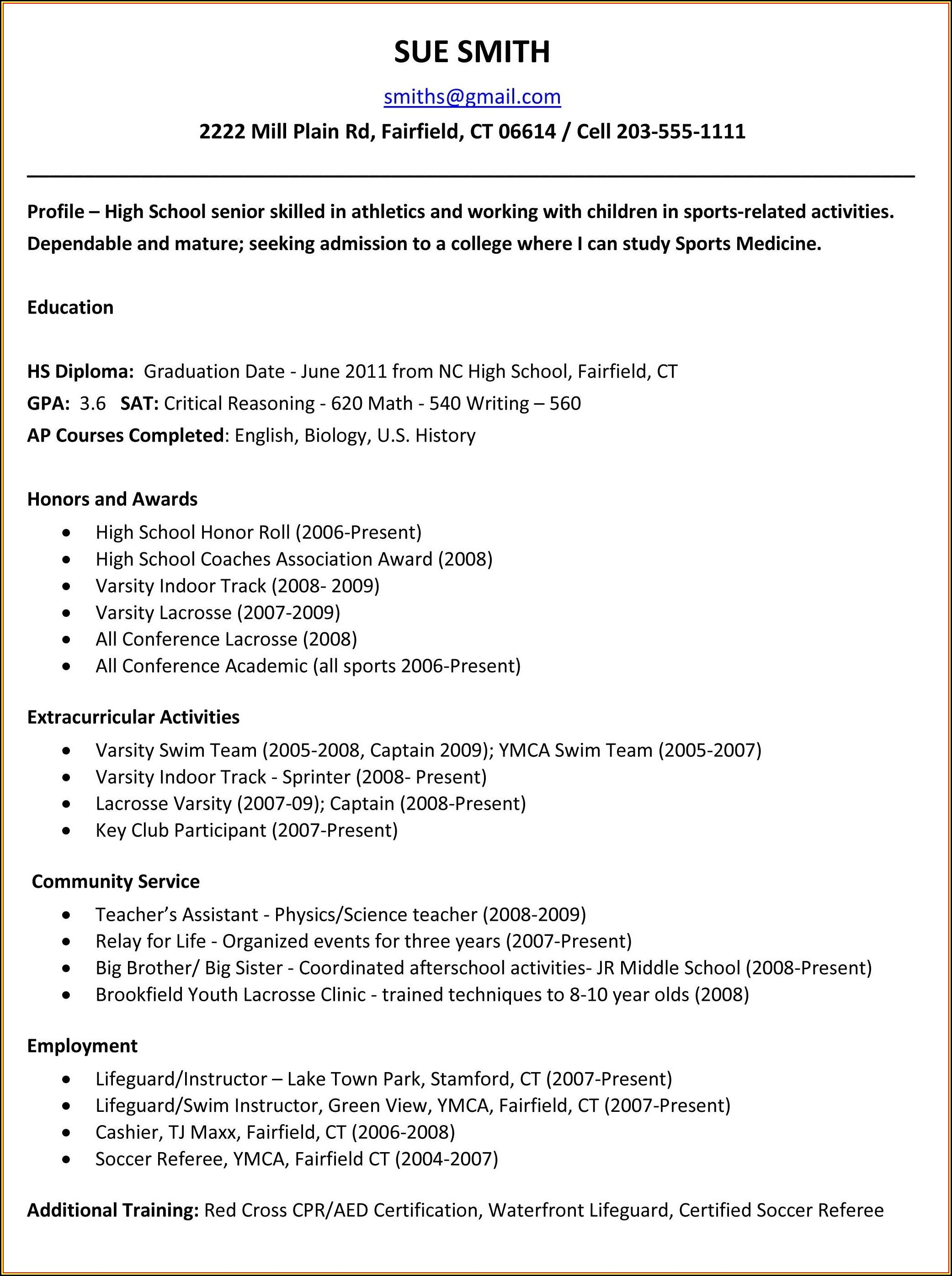 Resume Writing Templates For Highschool Students