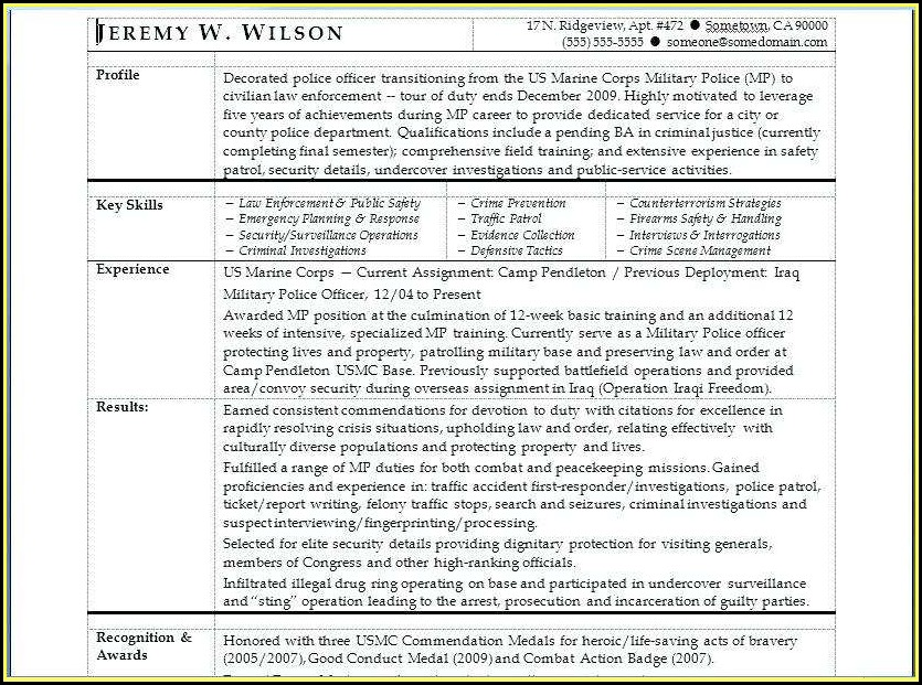 Resumes For Army Veterans