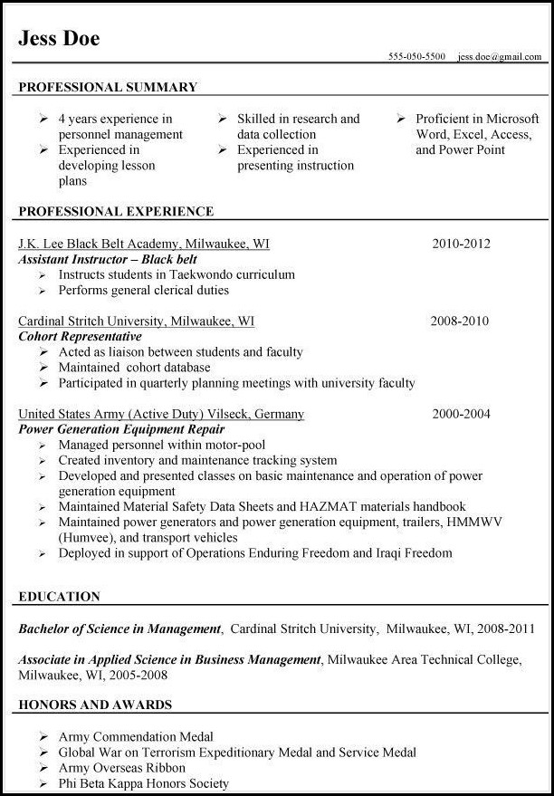 Resumes For Veterans