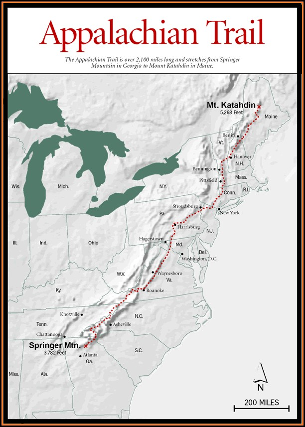 Road Map Appalachian Trail