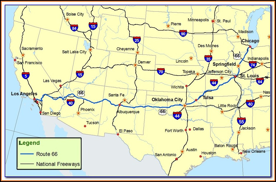 Road Map Of Historic Route 66
