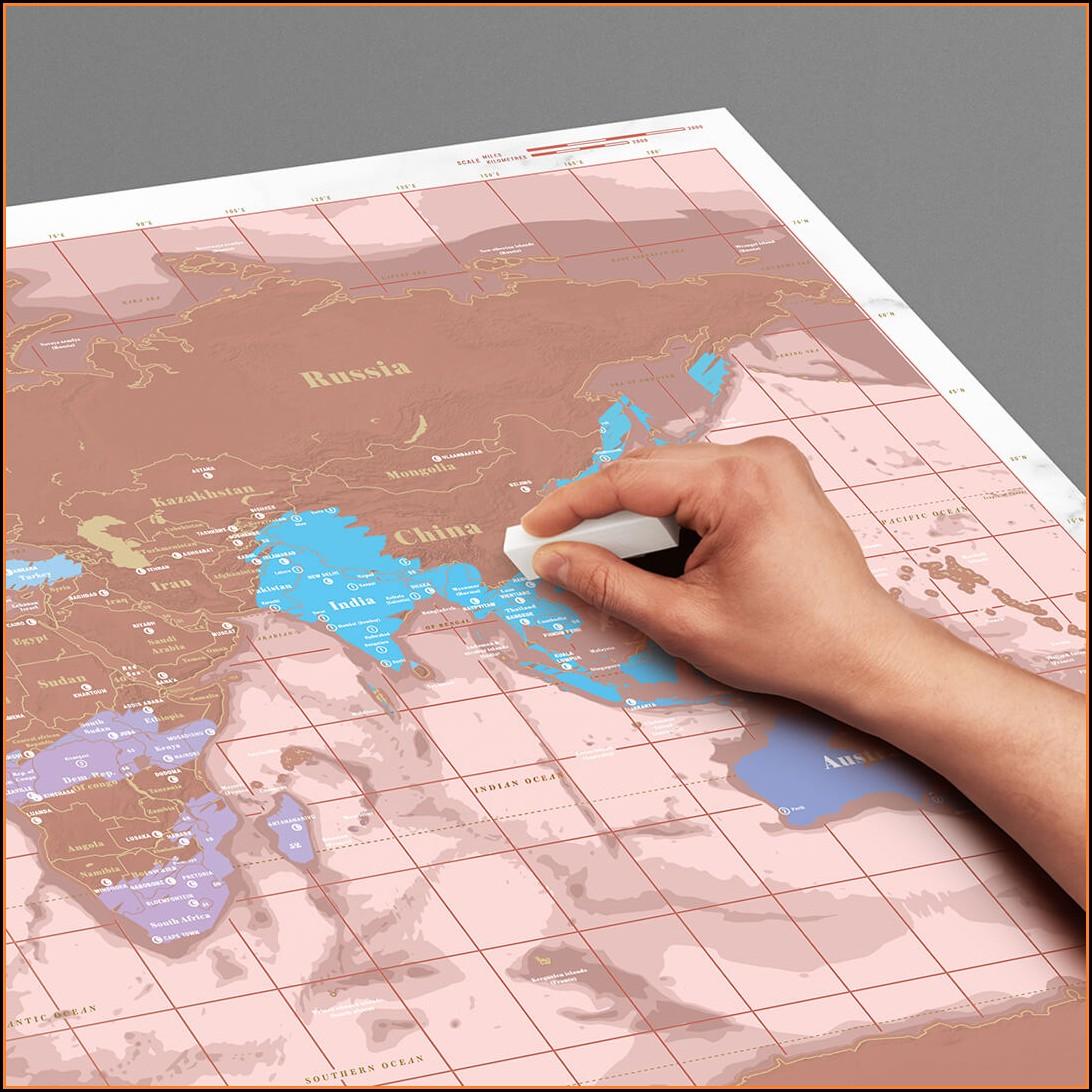 Rose Gold Scratch Off Map