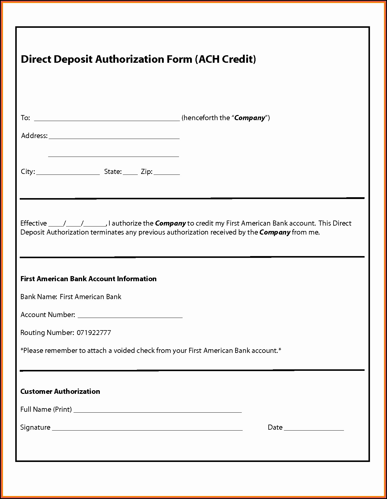 Sample Ach Deposit Authorization Form