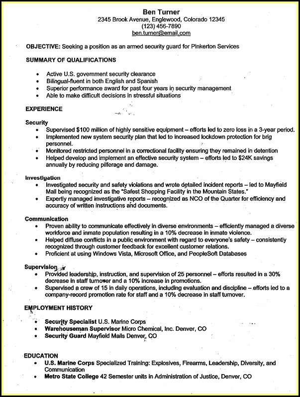 Sample Armed Security Guard Resume