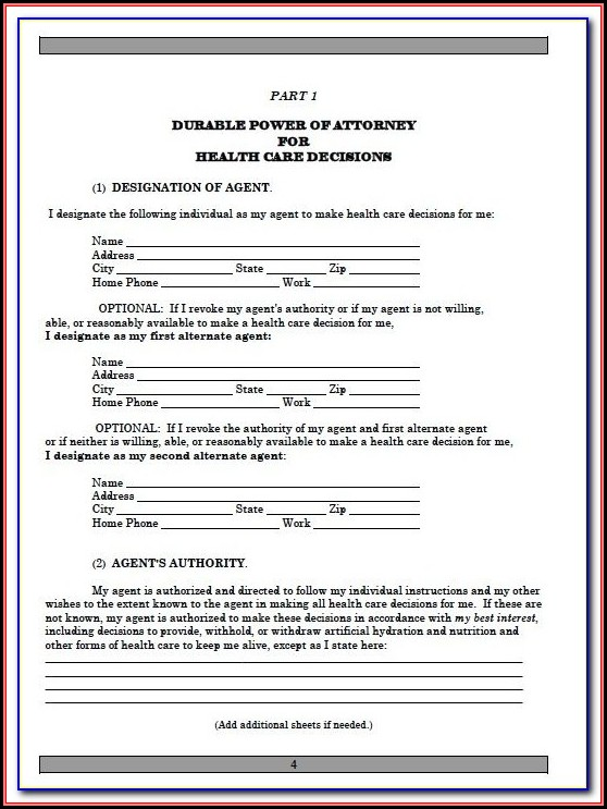 Sample Durable Power Of Attorney Form Florida