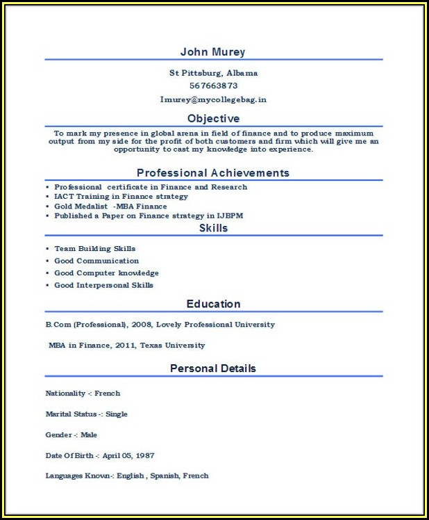 Sample Mba Resume For Freshers