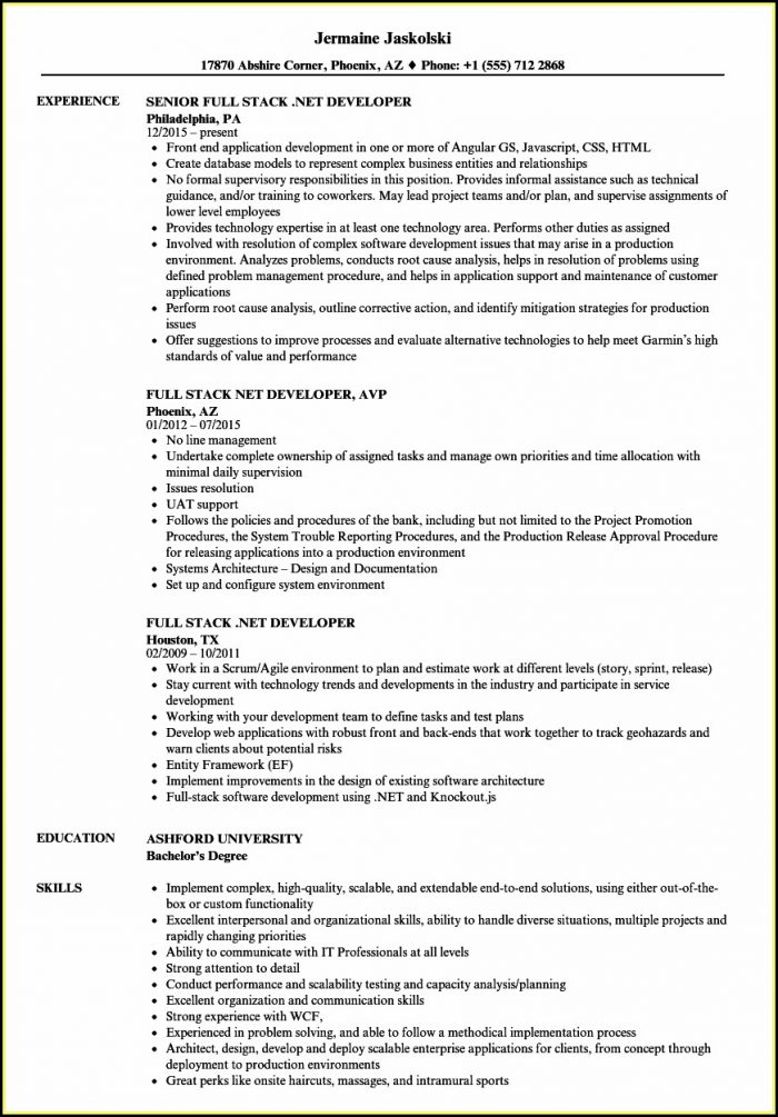 Sample Resume For .net Developer Experience