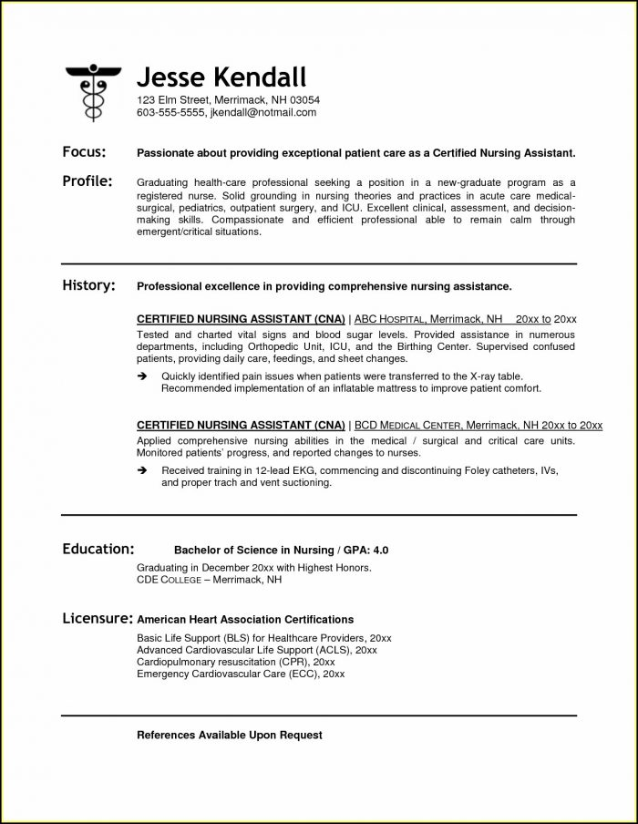 Sample Resume For Cna Job