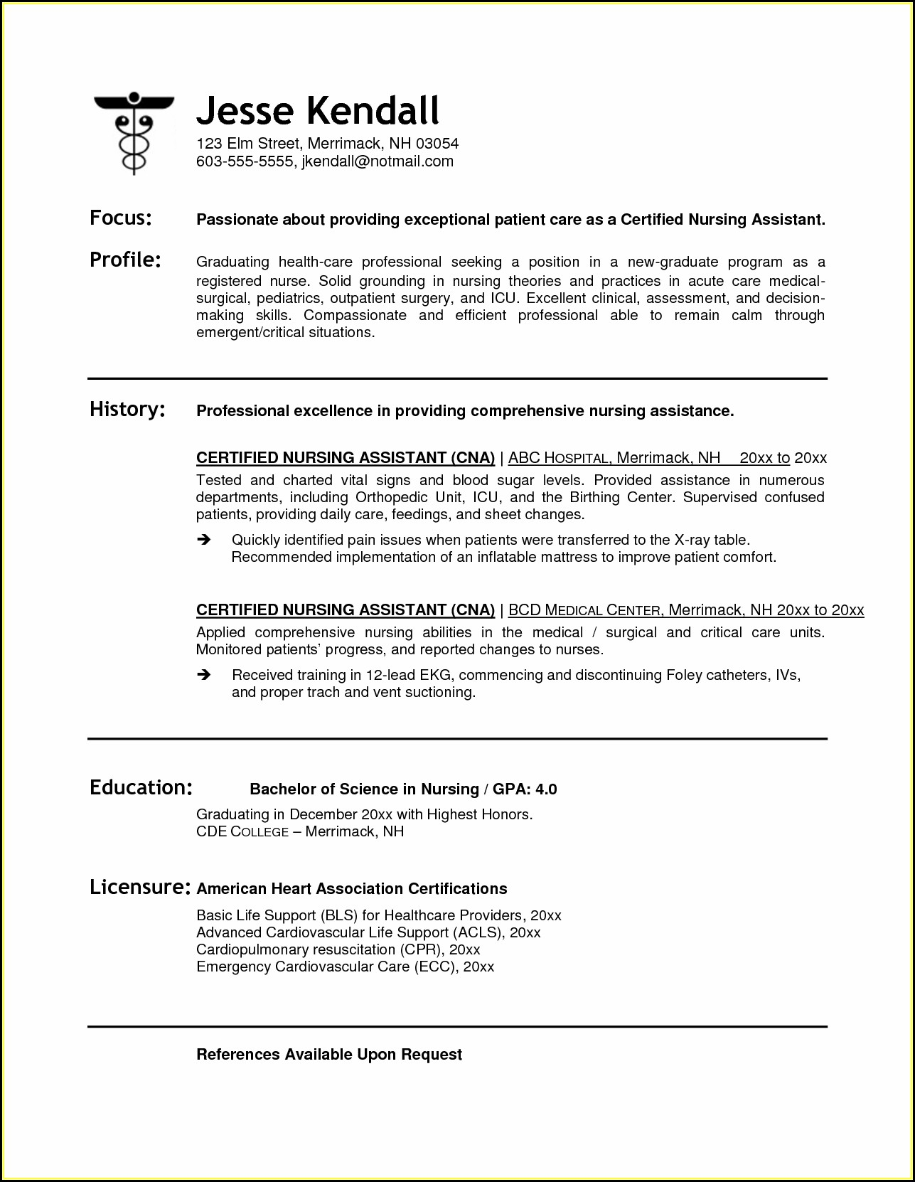 Sample Resume For Cna Job