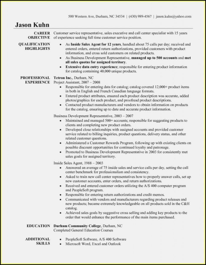 Sample Resume For Customer Service Executive