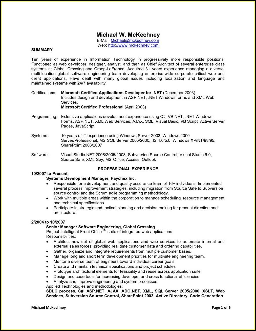 Sample Resume For Dot Net Developer Experience 5 Years