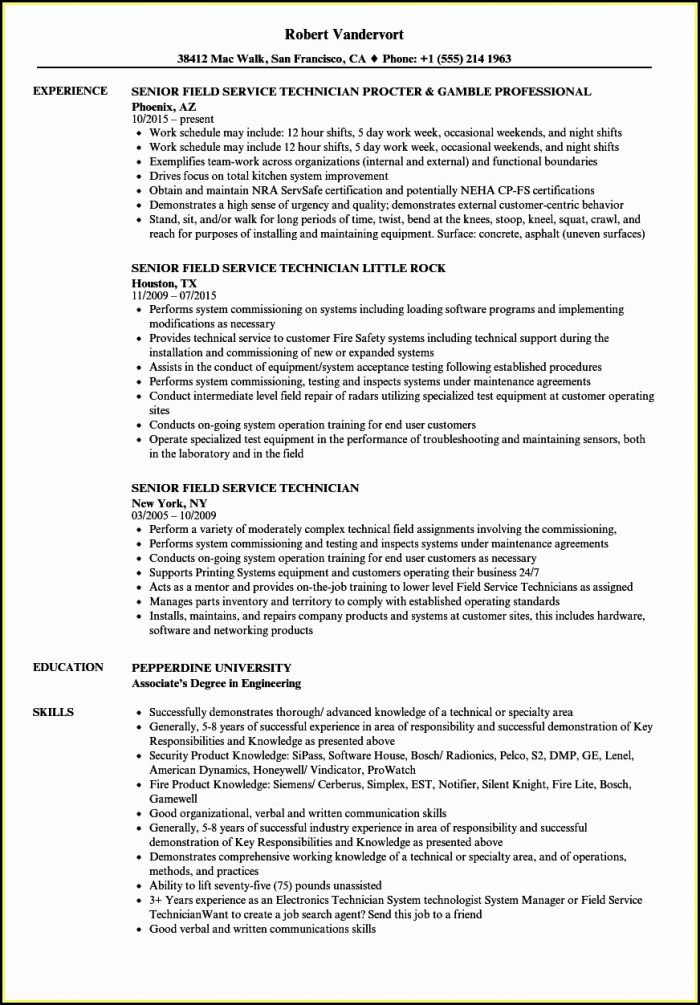Sample Resume For Field Service Technician