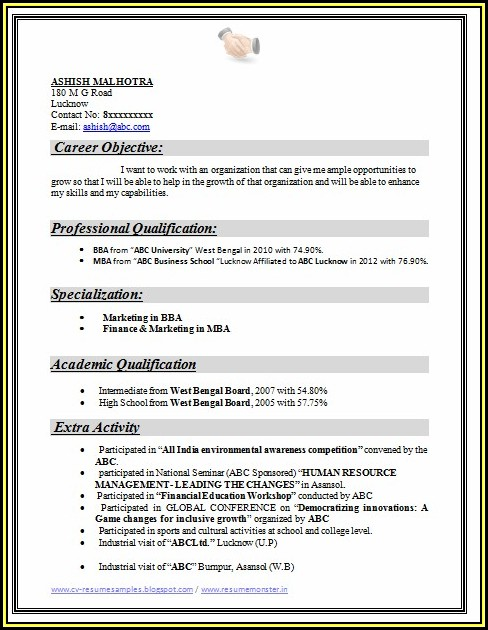 Sample Resume For Freshers Mba Hr And Marketing