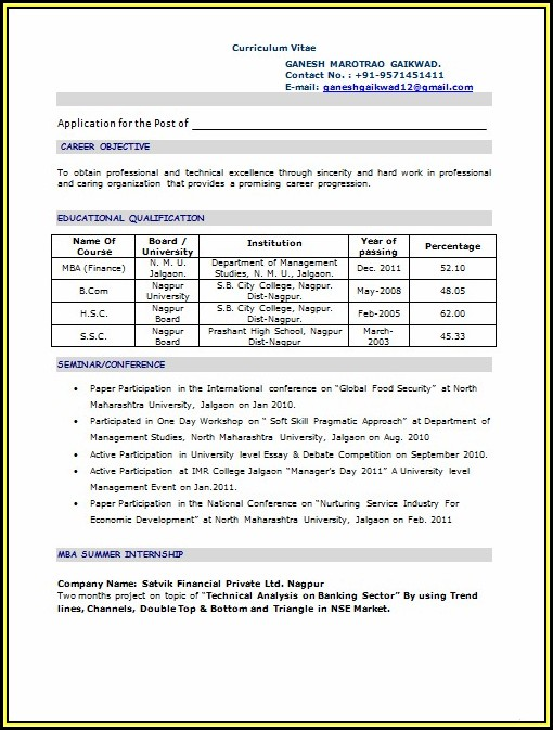 Sample Resume For Mba Freshers Doc