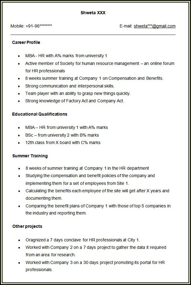 Sample Resume For Mba Operations Freshers