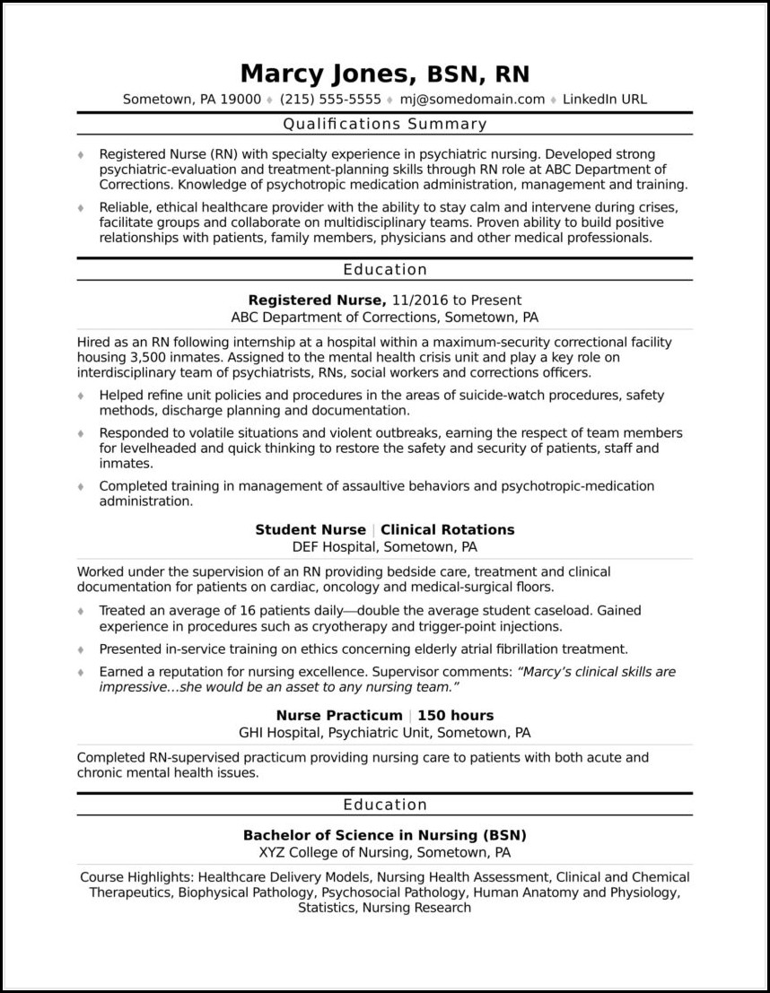 Sample Resume For Rn Entry Level