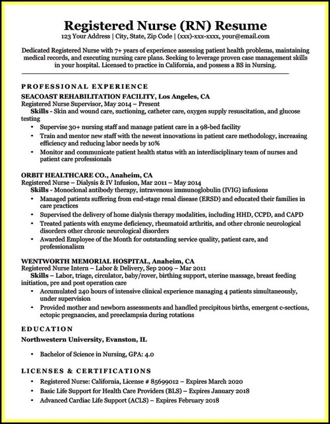 Sample Resume For Rn With One Year Experience