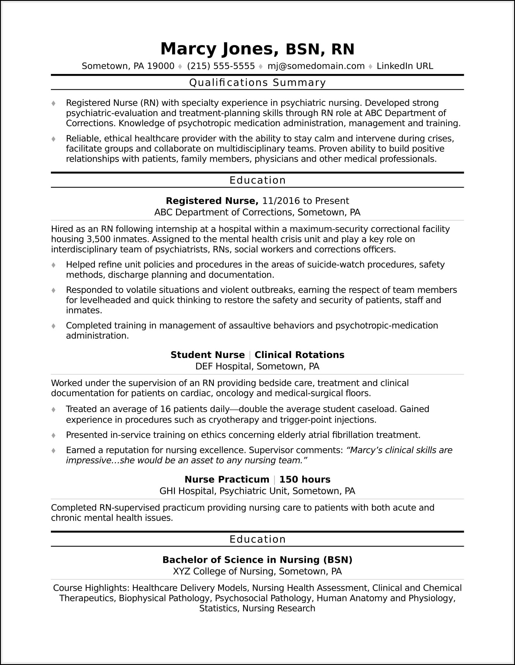 Sample Resume For Rn