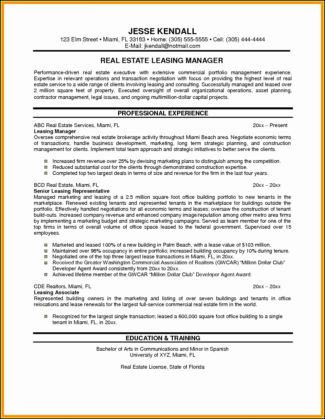 Sample Resume For Sales Executive In Real Estate