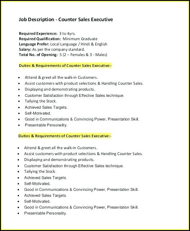 Sample Resume For Sales Executive Pdf