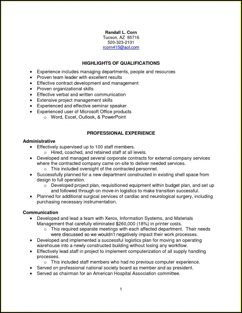 Sample Resume For Sterile Processing Technician