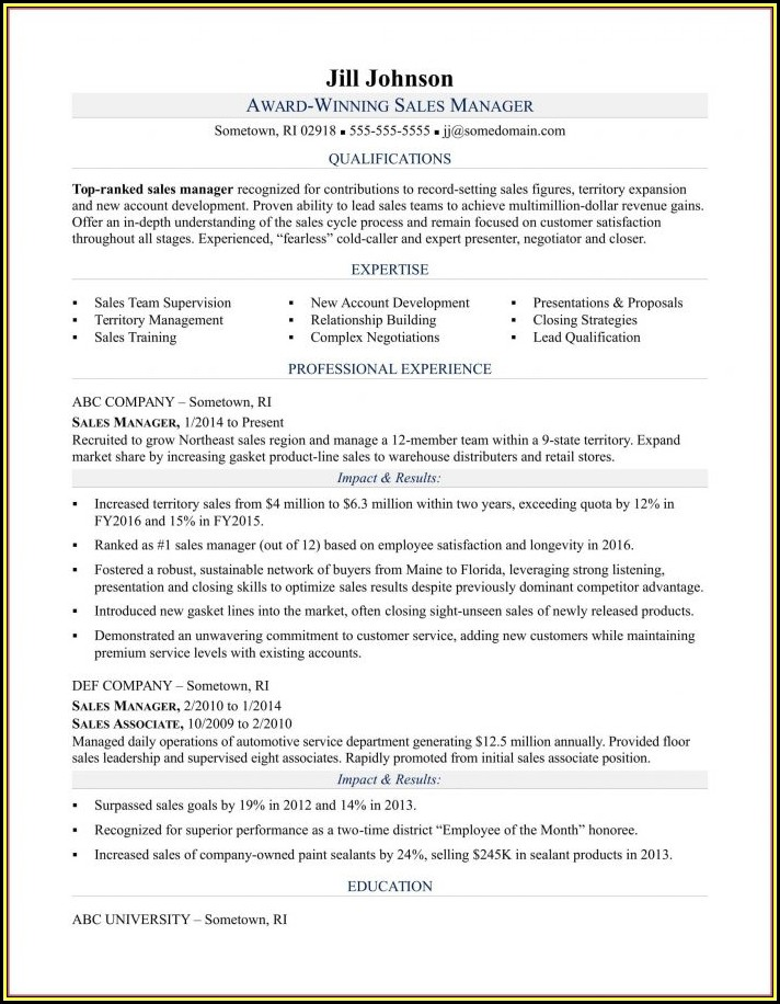Sample Resume For Territory Sales Manager