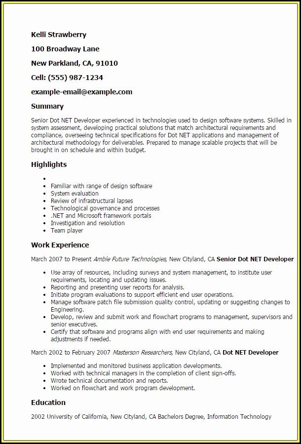 Sample Resume Of .net Developer
