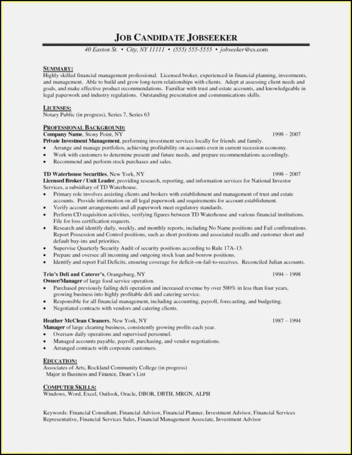 Sample Resume Of Financial Advisor