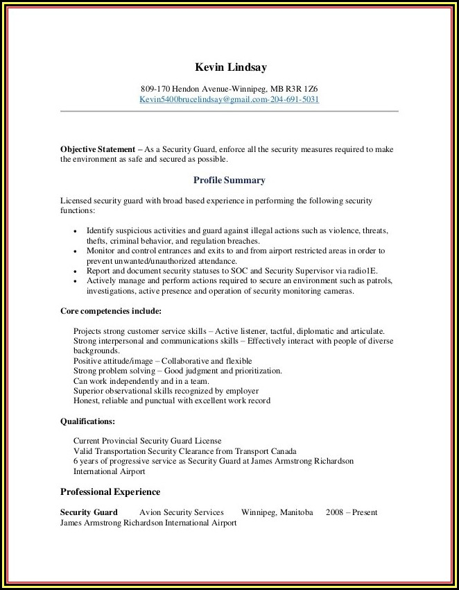 Sample Resume Of Security Guard In Canada