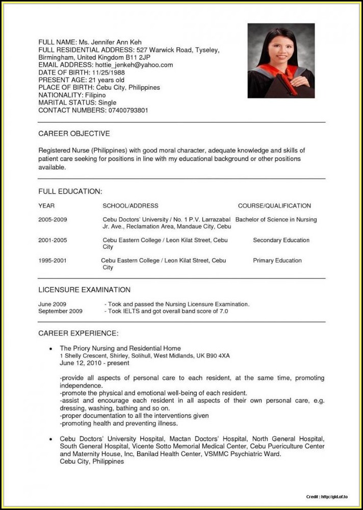 Sample Resume Staff Nurse Philippines