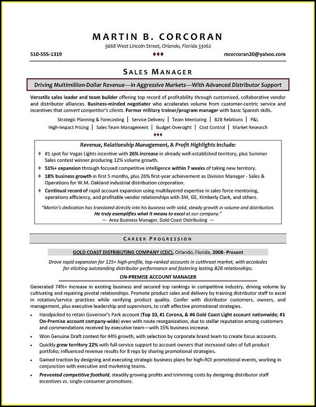 Sample Resumes Sales Manager